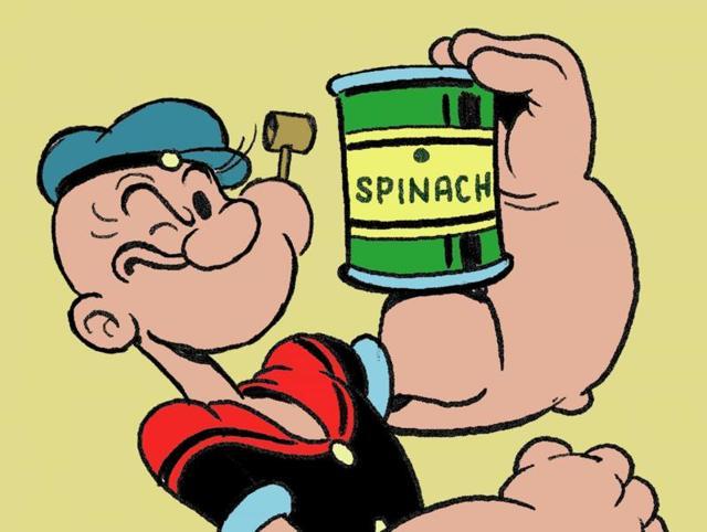 Моряк Папай с банкой шпината